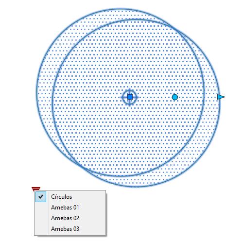 A imagem mostra o Bloco Dinâmico de Árvore, modelo Círculos mostrando grips em fundo branco.