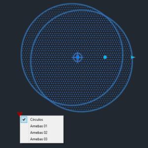 A imagem mostra o Bloco Dinâmico de Árvore, modelo Círculos mostrando grips em fundo padrão.