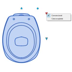 A imagem mostra o Bloco Dinâmico de Bacia Deca Aspen, com grips mostrando as opções, em fundo branco.