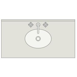 A imagem mostra o Bloco Dinâmico de Bancada de Banheiro com Cuba de Embutir, em fundo branco.