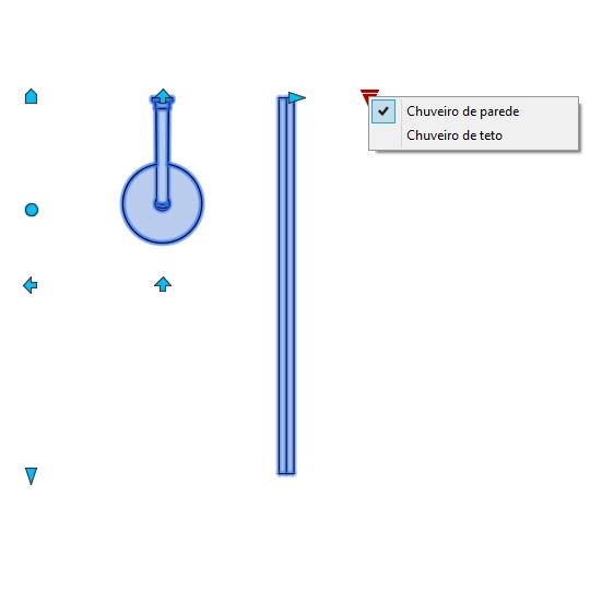 A imagem mostra o Bloco Dinâmico de Box de Banheiro, com grips mostrando as opções, em fundo branco.