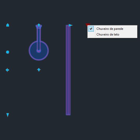 A imagem mostra o Bloco Dinâmico de Box de Banheiro, com grips mostrando as opções, em fundo padrão.