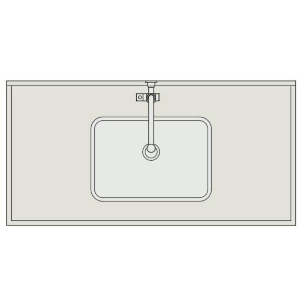 A imagem mostra o Bloco Dinâmico de Bancada de Cozinha com Cuba de Embutir, em fundo branco.
