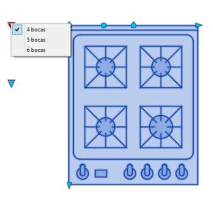 A imagem mostra o Bloco Dinâmico de Fogão Genérico, com grips mostrando as opções, em fundo branco.