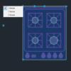 A imagem mostra o Bloco Dinâmico de Fogão Genérico, com grips mostrando as opções, em fundo padrão.
