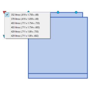 A imagem mostra o Bloco Dinâmico de Geladeira Duplex Brastemp, com grips mostrando as opções, em fundo branco.