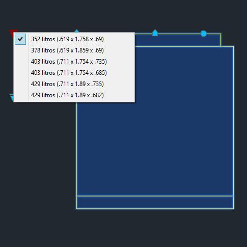 A imagem mostra o Bloco Dinâmico de Geladeira Duplex Brastemp, com grips mostrando as opções, em fundo padrão.