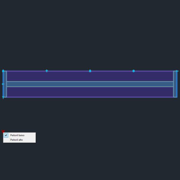 A imagem mostra o Bloco Dinâmico de Janela, com grips mostrando as opções, em fundo padrão.