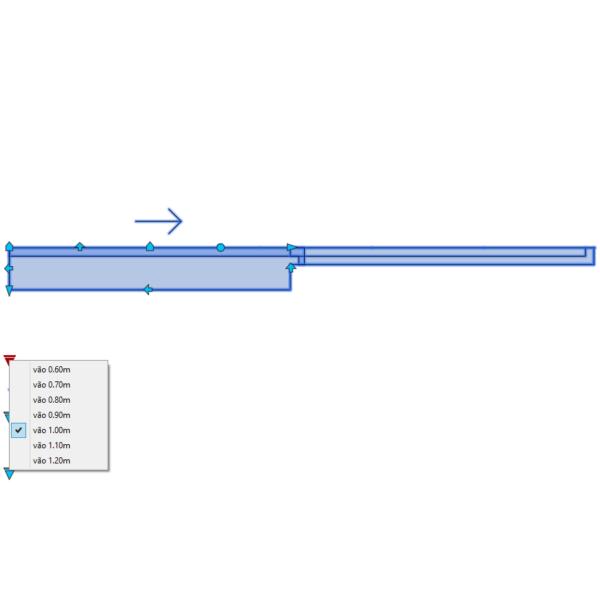 A imagem mostra o Bloco Dinâmico de Porta de Correr Embutida - 1 lado, com grips e opções de vãos, em fundo branco.