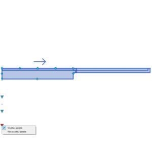 A imagem mostra o Bloco Dinâmico de Porta de Correr Embutida - 1 lado, com grips e opção de ocultar na parede, em fundo branco.