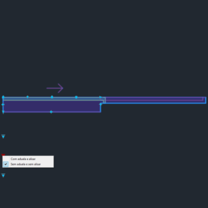 A imagem mostra o Bloco Dinâmico de Porta de Correr Embutida - 1 lado, com grips e opções de aduela e alisar, em fundo padrão.