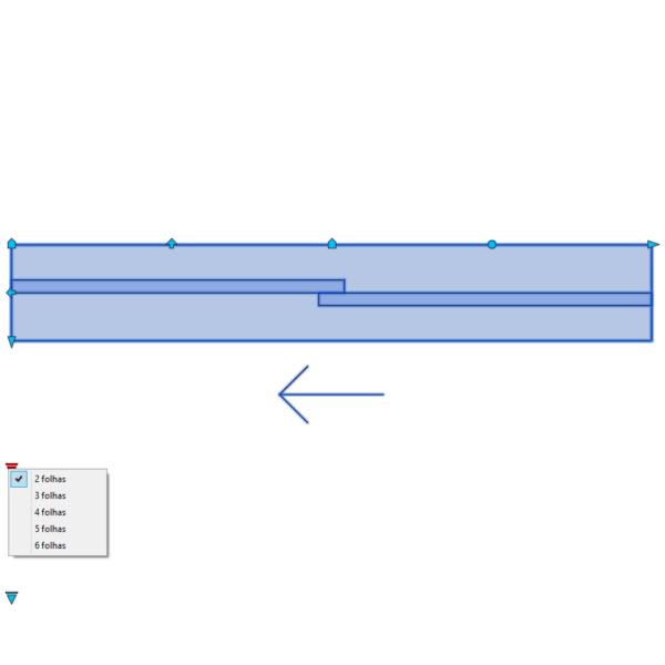 A imagem mostra o Bloco Dinâmico de Porta de Correr - 1 lado, com grips e opções de folhas, em fundo branco.