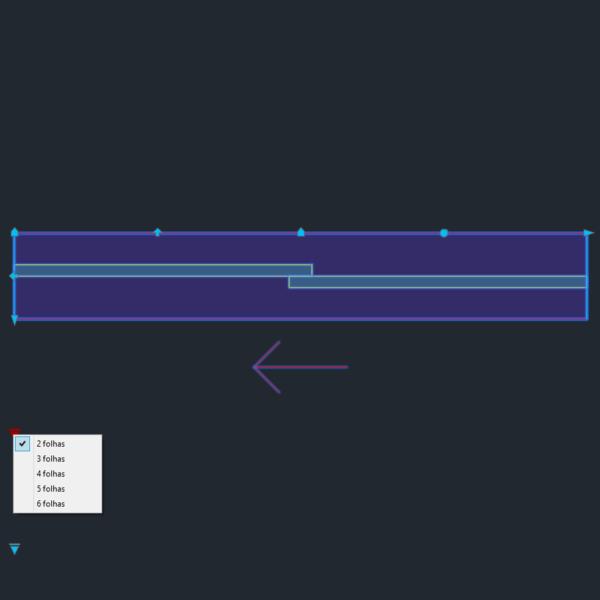 A imagem mostra o Bloco Dinâmico de Porta de Correr - 1 lado, com grips e opções de folhas, em fundo padrão.