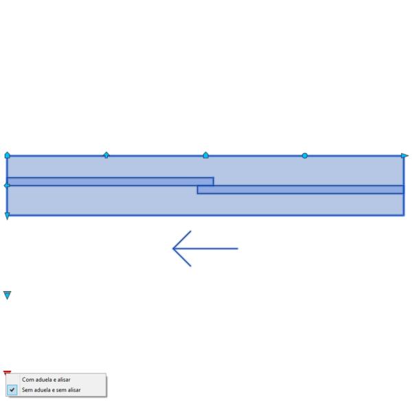 A imagem mostra o Bloco Dinâmico de Porta de Correr - 1 lado, com grips e opções de aduela e alisar, em fundo branco.