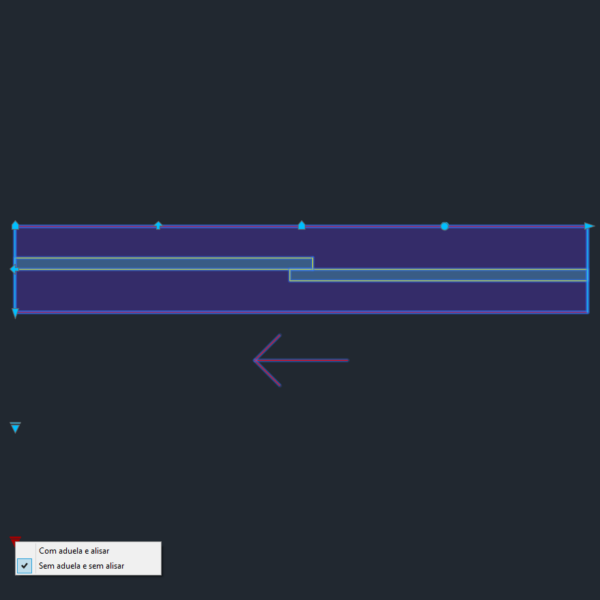 A imagem mostra o Bloco Dinâmico de Porta de Correr - 1 lado, com grips e opções de aduela e alisar, em fundo padrão.