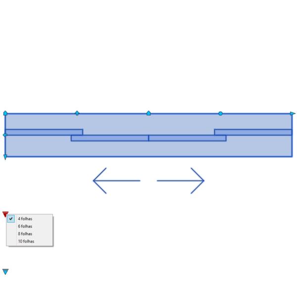 A imagem mostra o Bloco Dinâmico de Porta de Correr - 2 lados, com grips e opções de folhas, em fundo branco.