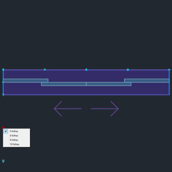 A imagem mostra o Bloco Dinâmico de Porta de Correr - 2 lados, com grips e opções de folhas, em fundo padrão.