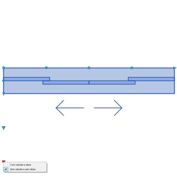 A imagem mostra o Bloco Dinâmico de Porta de Correr - 2 lados, com grips e opções de aduela e alisar, em fundo branco.