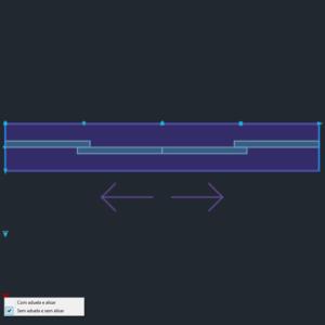 A imagem mostra o Bloco Dinâmico de Porta de Correr - 2 lados, com grips e opções de aduela e alisar, em fundo padrão.
