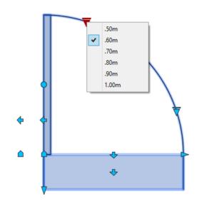 A imagem mostra o Bloco Dinâmico de Porta, com grips e opções de tamanho, em fundo branco.