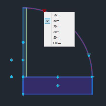 A imagem mostra o Bloco Dinâmico de Porta, com grips e opções de tamanho, em fundo padrão.