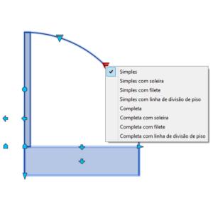 A imagem mostra o Bloco Dinâmico de Porta, com grips e opções de porta, em fundo branco.