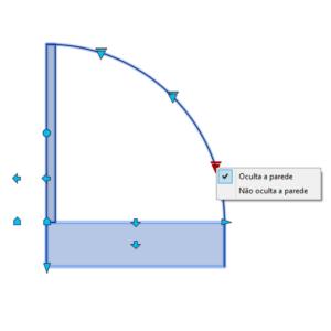 A imagem mostra o Bloco Dinâmico de Porta, com grips e opção de ocultar parede, em fundo branco.