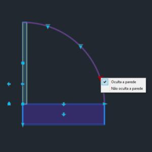 A imagem mostra o Bloco Dinâmico de Porta, com grips e opção de ocultar parede, em fundo padrão.