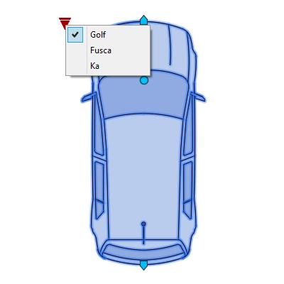 A imagem mostra o Bloco Dinâmico de Carro, com grips e opções de carros, em fundo branco.