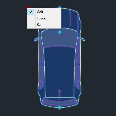 A imagem mostra o Bloco Dinâmico de Carro, com grips e opções de carros, em fundo padrão.