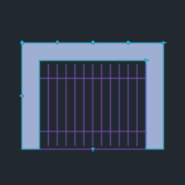 A imagem mostra o Bloco Dinâmico de Churrasqueira, com grips, em fundo padrão.