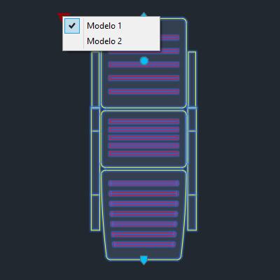 A imagem mostra o Bloco Dinâmico de Espreguiçadeira, com grips e opção de modelo, em fundo padrão.