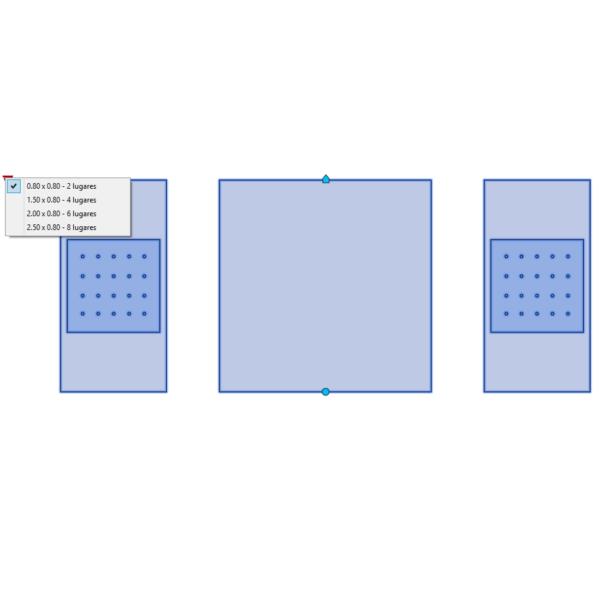 A imagem mostra o Bloco Dinâmico de Mesa para Exterior, com grips e opções de tamanho, em fundo branco.