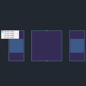 A imagem mostra o Bloco Dinâmico de Mesa para Exterior, com grips e opções de tamanho, em fundo padrão.