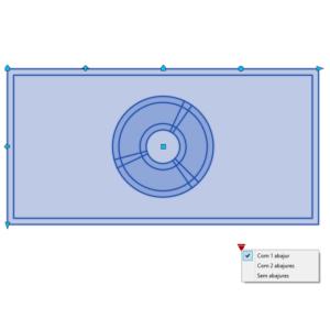 A imagem mostra o Bloco Dinâmico de Mesa de Cabeceira, com grips e opções, em fundo branco.