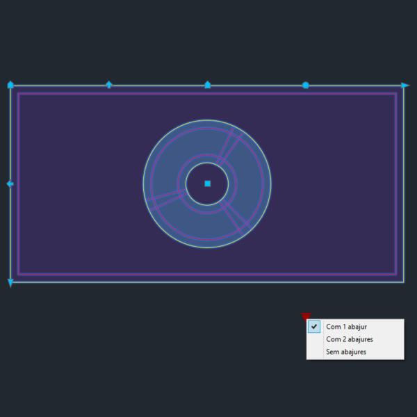 A imagem mostra o Bloco Dinâmico de Mesa de Cabeceira, com grips e opções, em fundo padrão.