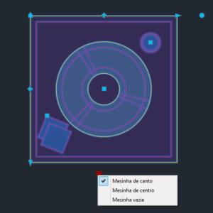 A imagem mostra o Bloco Dinâmico de Mesinha de Centro, com grips e opções, em fundo padrão.