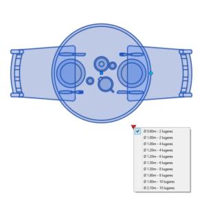 A imagem mostra o Bloco Dinâmico de Mesa Redonda, com grips e opções de tamanho ou lugares, em fundo branco.