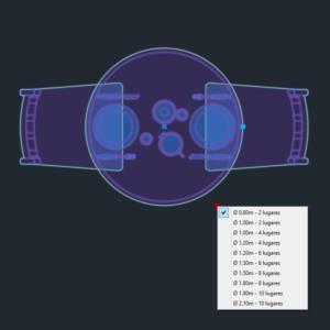 A imagem mostra o Bloco Dinâmico de Mesa Redonda, com grips e opções de tamanho ou lugares, em fundo padrão.