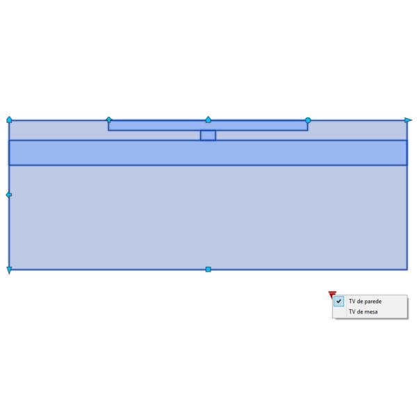 A imagem mostra o Bloco Dinâmico de Rack com TV, com grips e opções de mesa ou parede, em fundo branco.