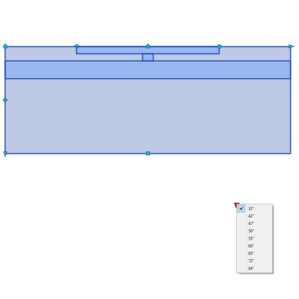 A imagem mostra o Bloco Dinâmico de Rack com TV, com grips e opções de tamanho da TV, em fundo branco.