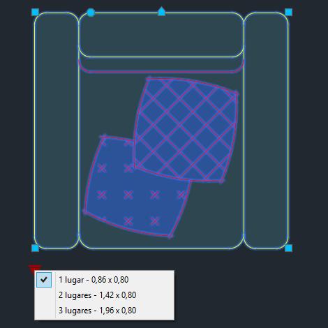 A imagem mostra o Bloco Dinâmico de Sofá Coy Tok&Stok, com grips e opções de tamanho ou lugares, em fundo padrão.