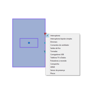 """A imagem mostra o Bloco Dinâmico de Placas de tomadas e interruptores 4x2"""", com grips mostrando os tipos, em fundo branco."""