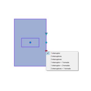 """A imagem mostra o Bloco Dinâmico de Placas de tomadas e interruptores 4x2"""", com grips mostrando as quantidades, em fundo branco."""