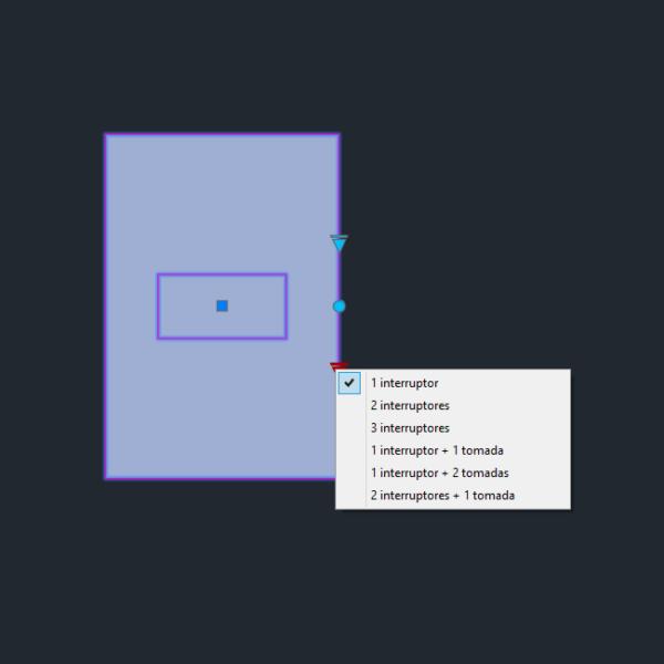 """A imagem mostra o Bloco Dinâmico de Placas de tomadas e interruptores 4x2"""", com grips mostrando as quantidades, em fundo padrão."""