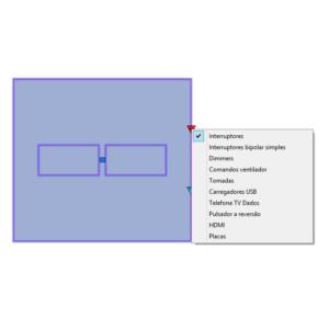 """A imagem mostra o Bloco Dinâmico de Placas de tomadas e interruptores 4x4"""", com grips mostrando os tipos, em fundo branco."""