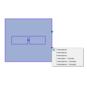 """A imagem mostra o Bloco Dinâmico de Placas de tomadas e interruptores 4x4"""", com grips mostrando as quantidades, em fundo branco."""