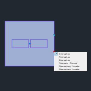 """A imagem mostra o Bloco Dinâmico de Placas de tomadas e interruptores 4x4"""", com grips mostrando as quantidades, em fundo padrão."""