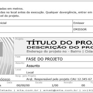 O modelo apresentado mostra o posicionamento e dimensões do logotipo no carimbo da prancha, no alto e à esquerda das informações textuais.