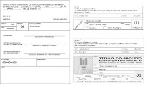 A imagem mostra alguns exemplos de carimbo personalizado para o CAD, com ou sem logotipo e com variadas informações.